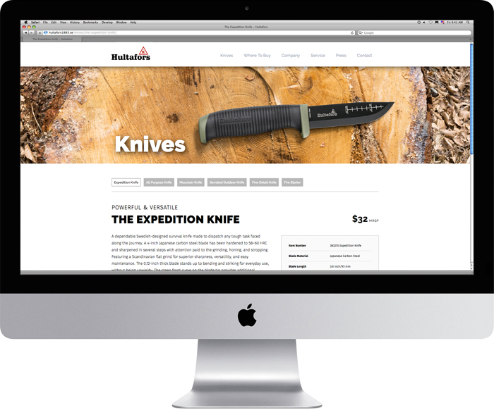 Hultafors Expedition knife page